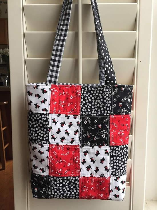 Bolsa de tecido feita com patchwork