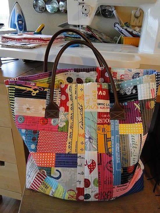 Bolsa feita com patchwork
