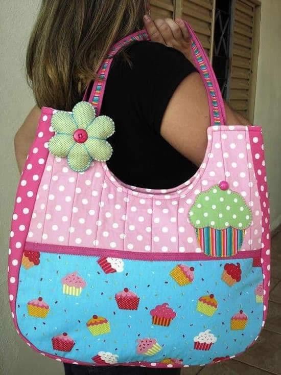 Ideia de bolsa feita com patchwork