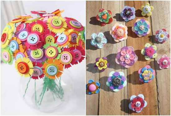 Flores com botões de roupa