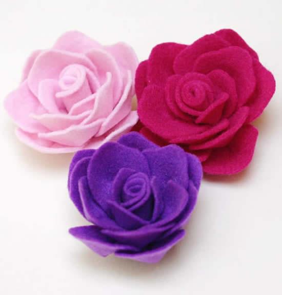 Flores com feltro