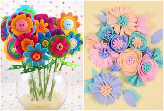 Flores lindas de feltro