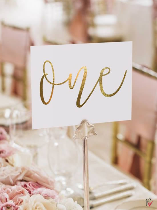 Marcadores de mesa de casamento