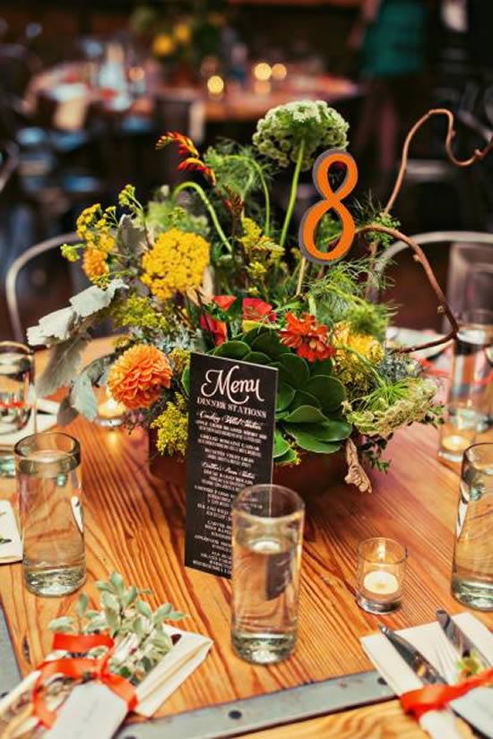 Marcador lindo para mesa de casamento