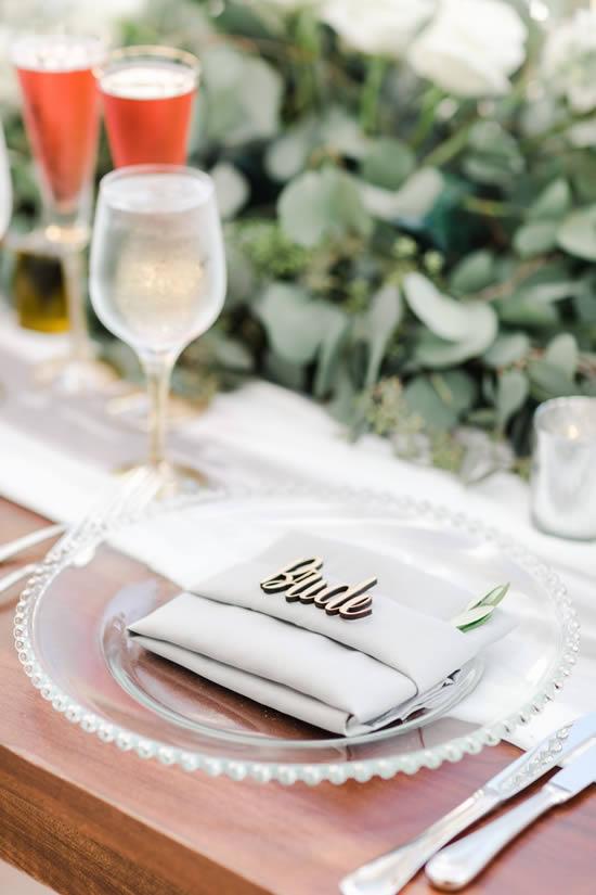Marcador com nome para mesa de casamento