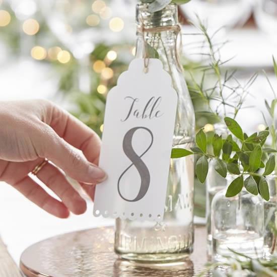 Marcador de mesa de casamento