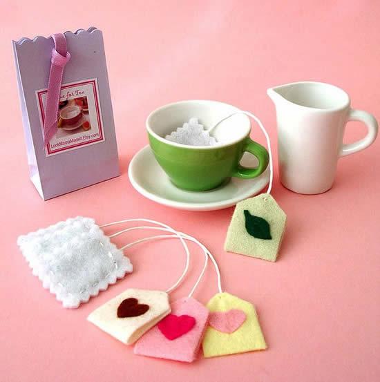 Sachês de chá com tecido feltro