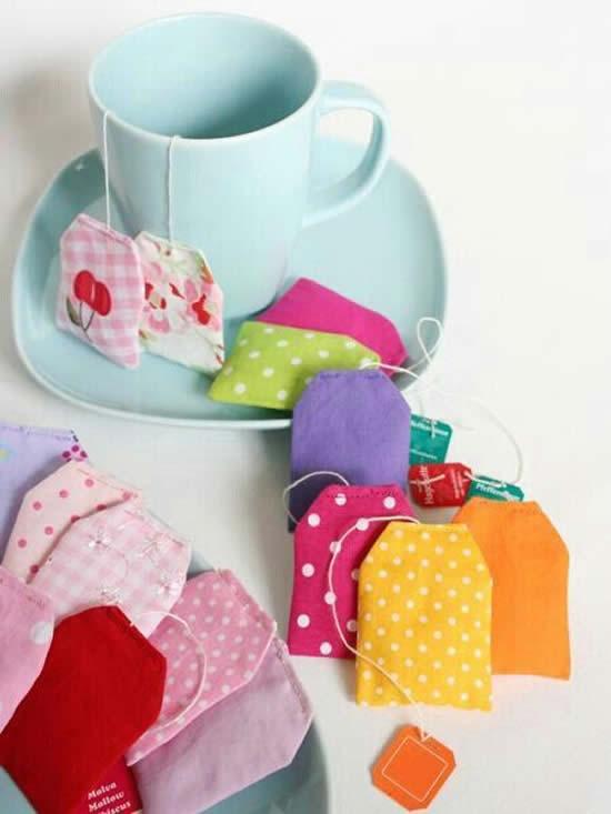 Saquinhos de chá com tecido