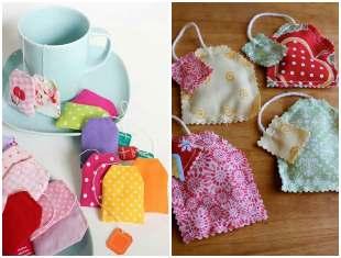 Saquinhos de chá com tecido - Sachês