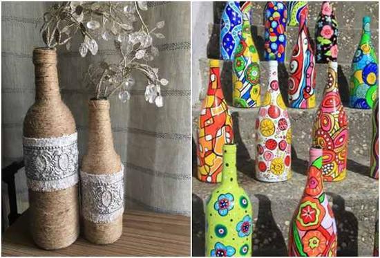 Lindas garrafas decoradas