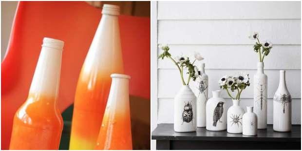 Vasos reciclados com garrafas