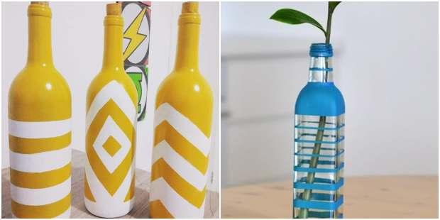 Decoração com a reciclagem de garrafas de vidro