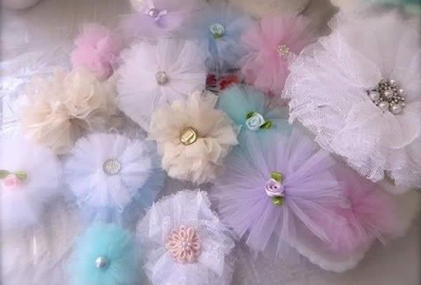 Flores de tecido tule