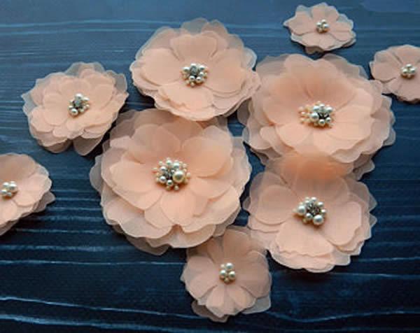 Lindas flores de tecido tule