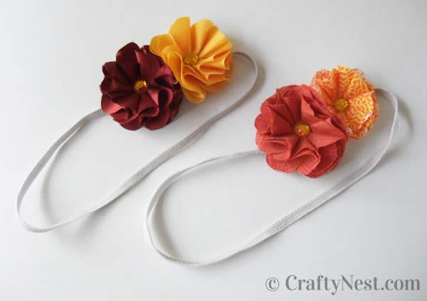 Como fazer tiara com flores de tecido