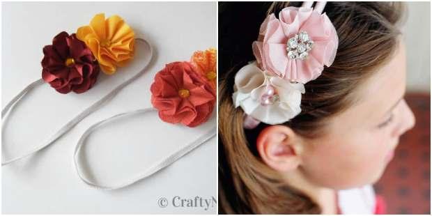 Flores de tecido para tiara