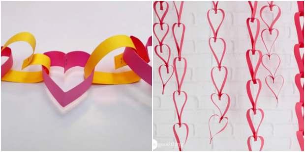 Enfeites de coração com papel