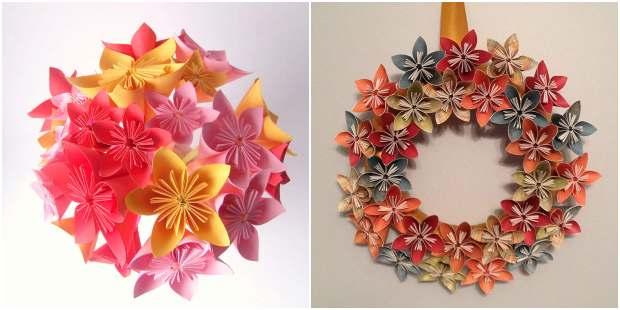 Decoração com flores de origami