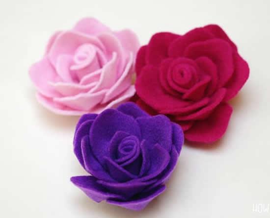 Rosa de feltro linda e fácil
