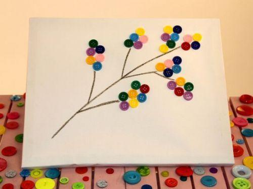 Criando artesanato infantil com botões