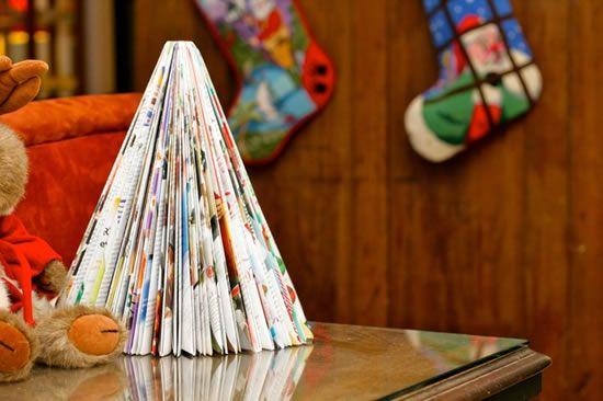 Reciclagem de revistas para fazer artesanato de Natal