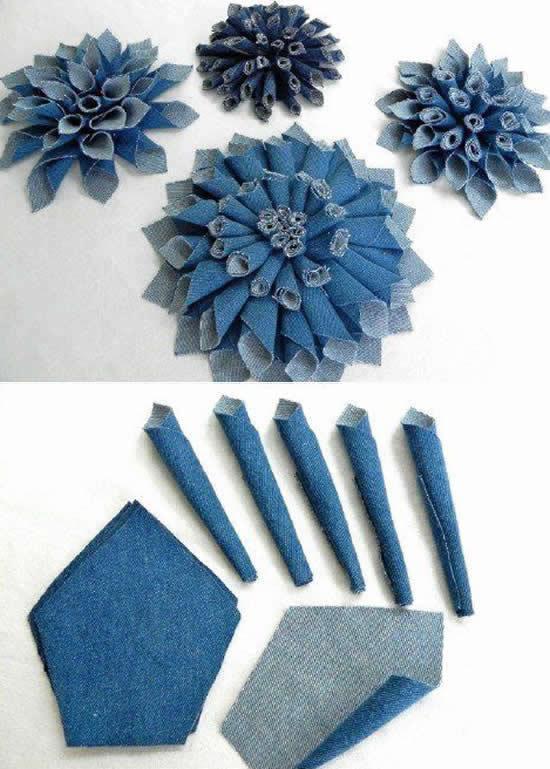 Lindas flores de tecido jeans