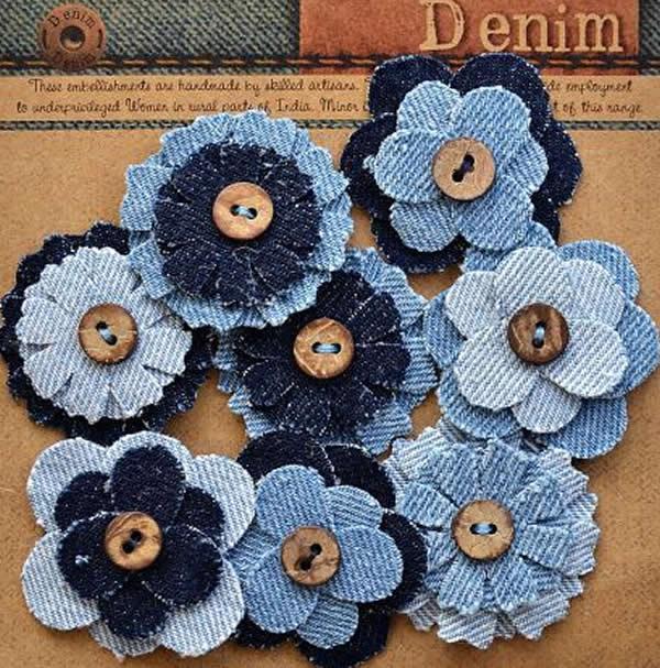 Flores de tecido jeans