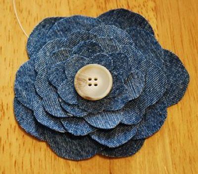 Como fazer flor de tecido jeans passo a passo