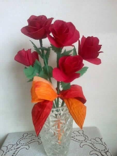 Rosas de papel crepom passo a passo
