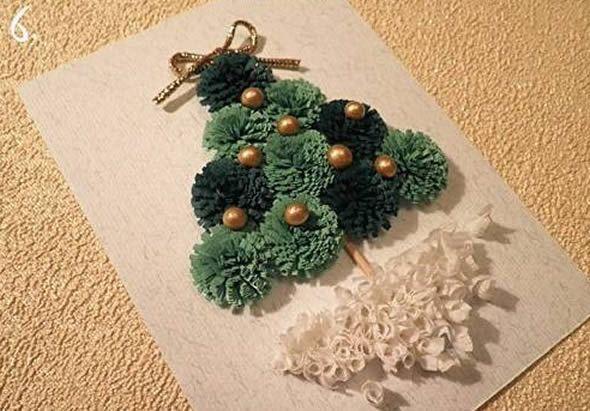 Cartão artesanal com Árvore de Natal