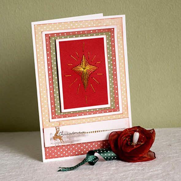 Cartão de Natal com costura passo a passo