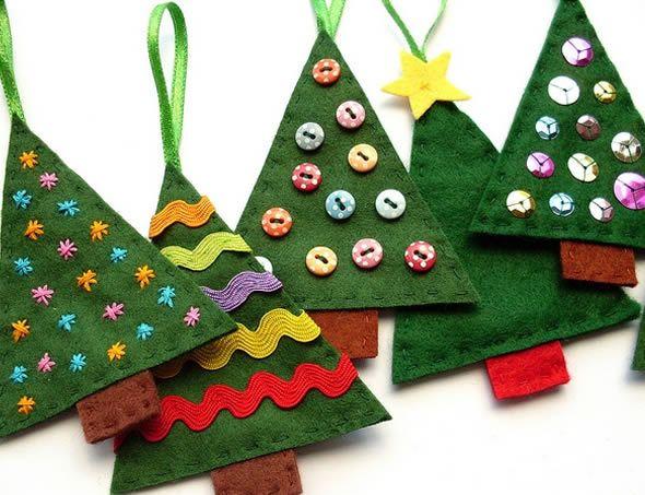 Enfeites de feltro para decorar a Árvore de Natal