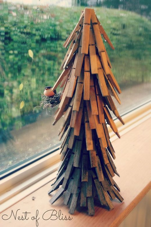 Árvore de Natal com pregadores passo a passo
