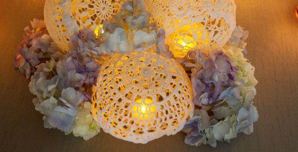 Luminária com toalhinha de crochê