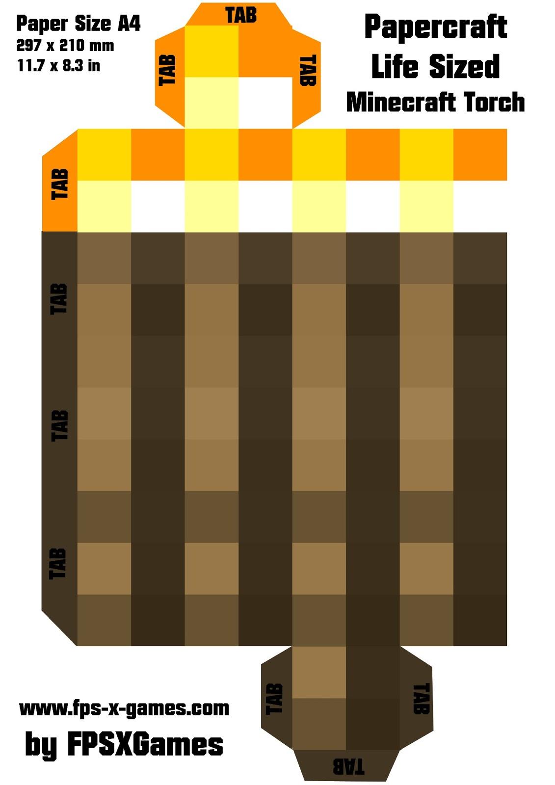 Artesanato De Minecraft Passo A Passo Tocha Com Molde