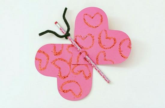 Artesanato infantil com molde de coração passo a passo