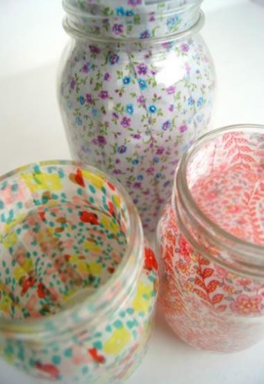 Decoração de potes de vidro com tecido