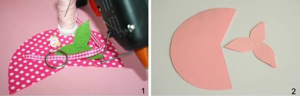 Moranguinho de tecido para chaveiro