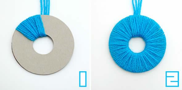 Como fazer pompons de lã coloridos com molde passo a passo 9fa46b3fc17