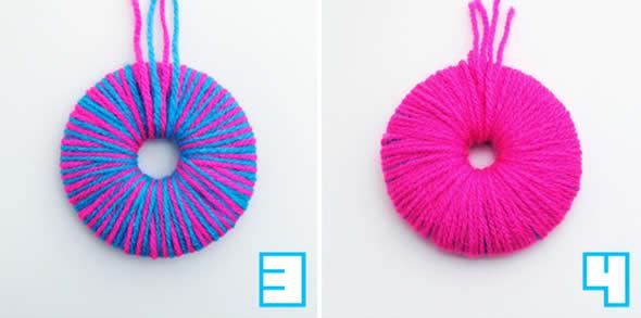d9bdd6eaa1df2 Como fazer pompons de lã coloridos com molde passo a passo