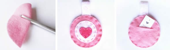 Lembrancinha com chaveiro de coração de feltro