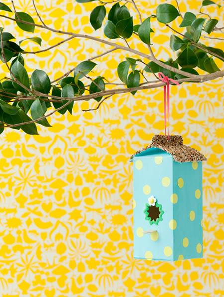 Casa de passarinho com caixa de leite
