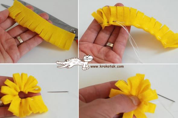 Artesanato A Mó ~ Como fazer flores de feltro com bot u00e3o passo a passo