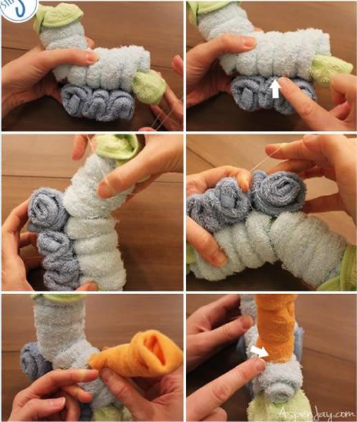 Trenzinho feito de toalhas para decoração passo a passo