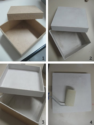 Como revestir caixa de MDF com tecido e decorar com decoupage