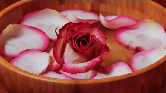 Água com rosas