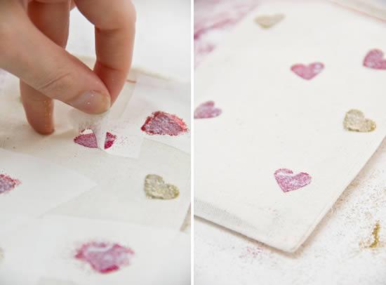 Embalagem com corações para o Dia dos Namorados