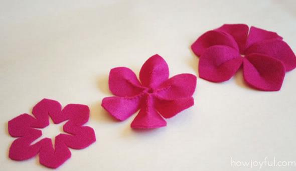 Flor de feltro para tiara