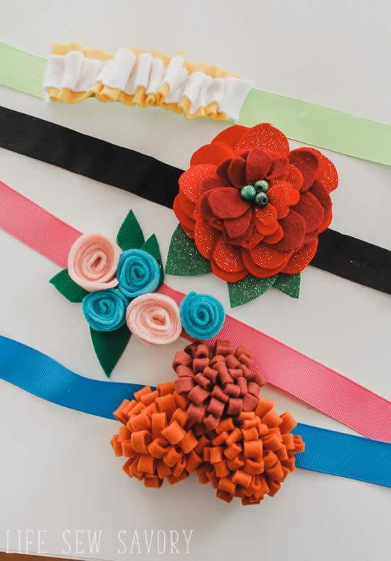 Tiaras com flores de feltro