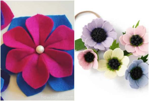 Flores de feltro para tiara com moldes